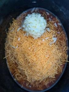 shredded cheeses, beer, salsa in crockpot