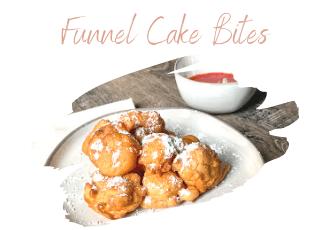 funnel cake bites on white plate