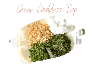 green goddess dip in plastic bowl
