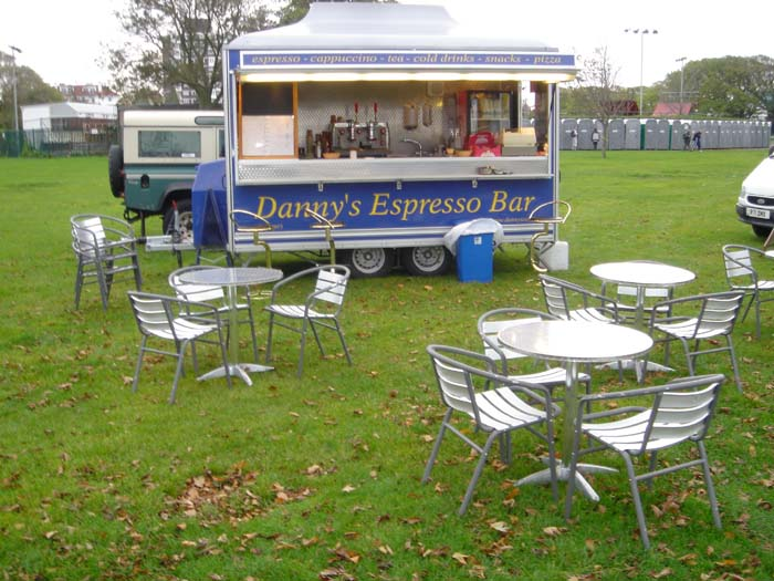 An early photo from his own website of Danny's Espresso Bar 'Sitting in a field'