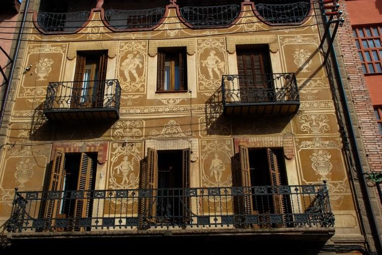 The decorative facade of a building in Barcelona