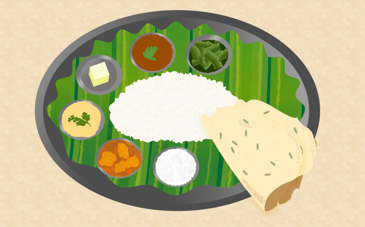 Indian cuisine - Indian Thali, Penang Indian restaurants, illustration by Dan Convey