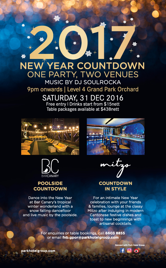 New Year Eve 2017 Countdown at Mitzo & Bar Canary!