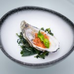 Maru Dine & Bar — Fresh Oyster with Smoked Tomato Sherbet