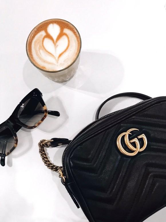 Gucci Marmont handbag and latte art   CoffeeAndHandbags.com