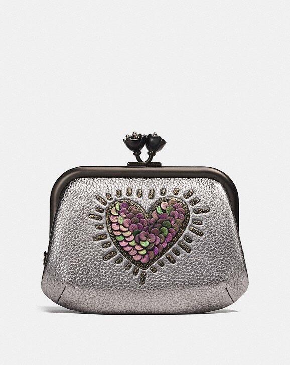 Coach x Keith Haring Metallic Smoke Sequin Heart Frame Coin Purse