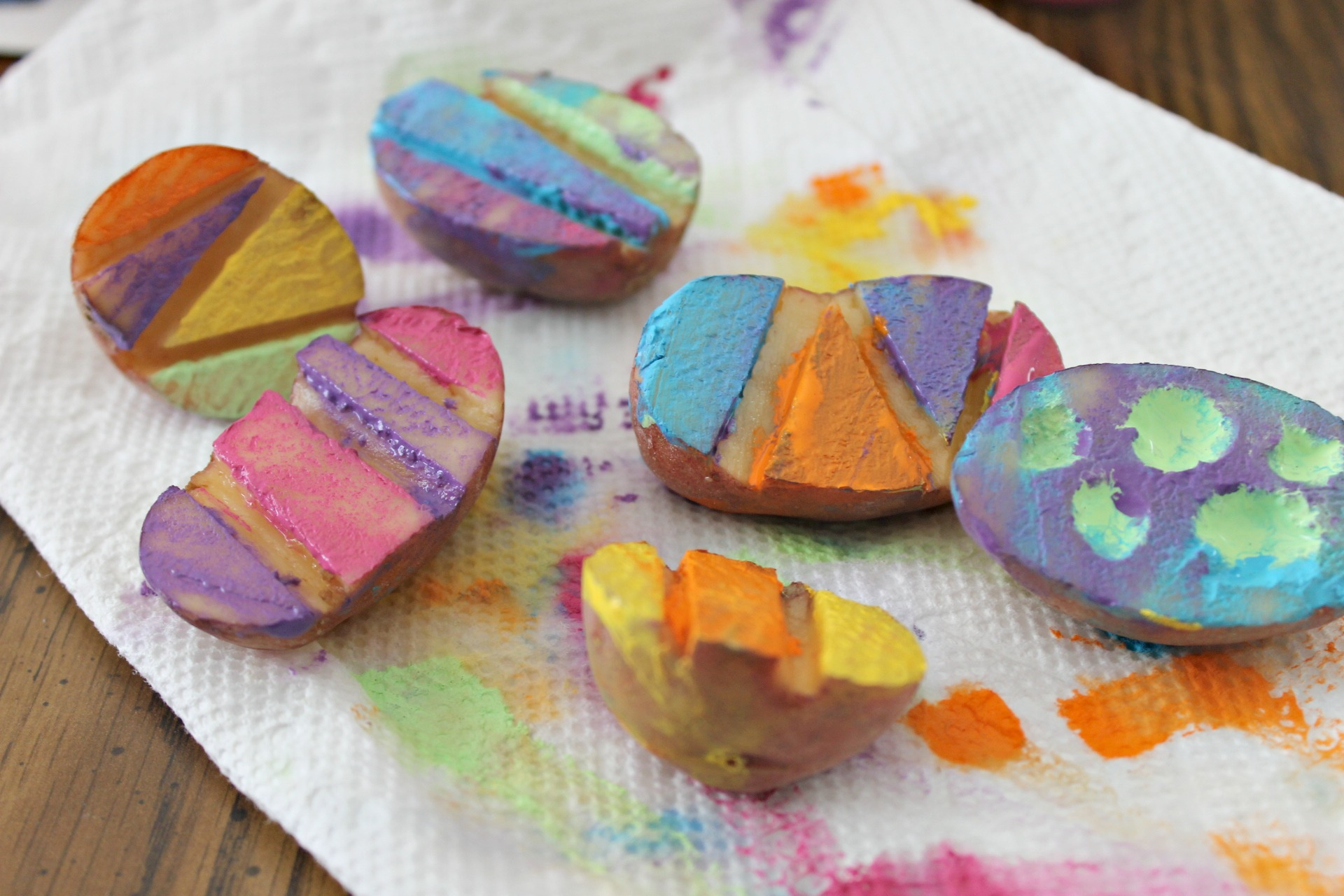 Easter Potato Stamping Craft For Kids Coffee Chaos And Giggles