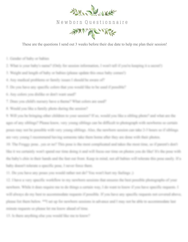 Newborn Questionnaire