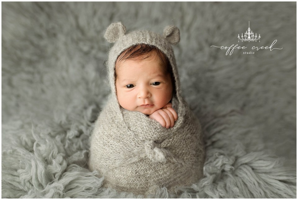 Indianapolis newborn photographer baby boy in bear wrap