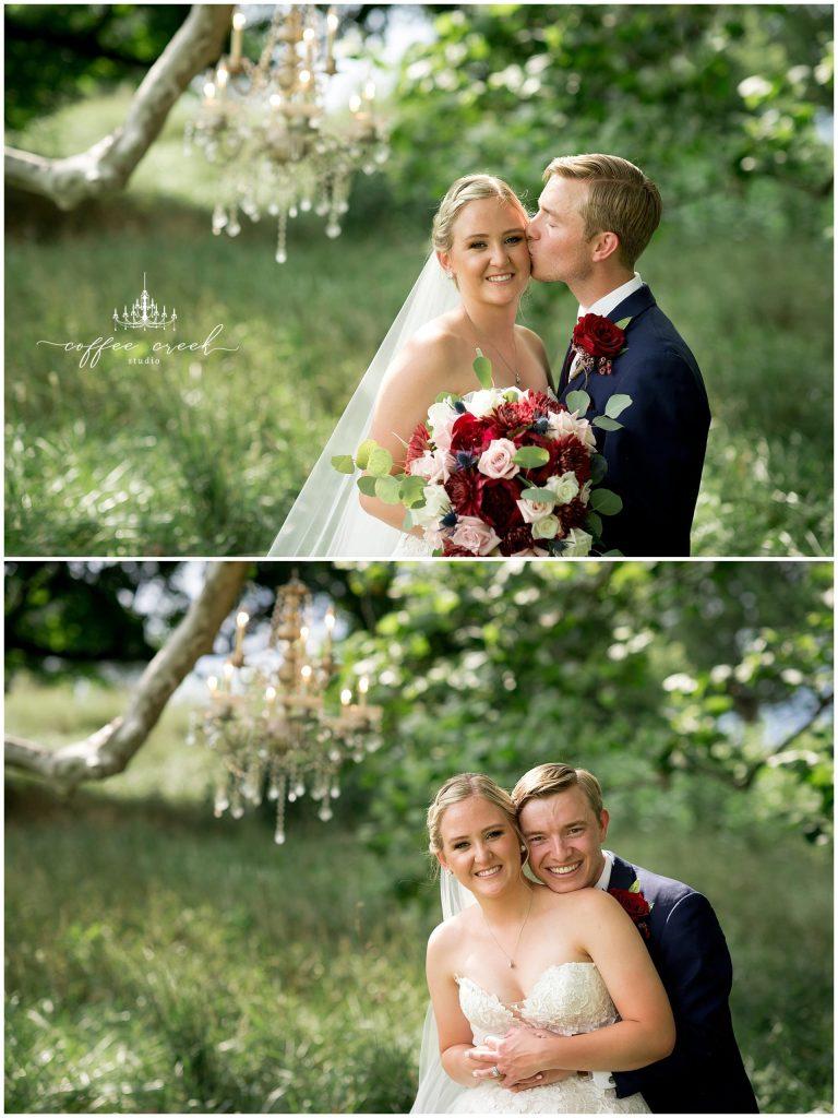 bride and groom portraits at barn venue wedding