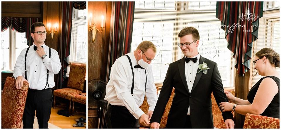 Groom getting ready at Laurel Hall Wedding