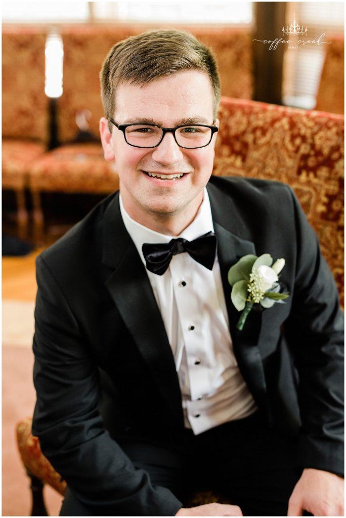 Groom at Laurel Hall Wedding