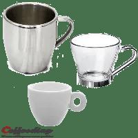 Choisie le matériau d'une tasse à café : Porcelaine, verre, céramique, alu, inox,métal