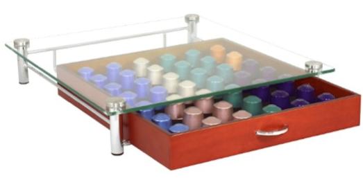 DecoBros Crystal Glass Wood Nespresso Storage Drawer Holder for Capsules