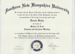 MA degree from SNHU