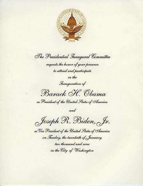 Invitation to the Presidential Inauguration of Barack Obama
