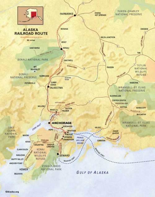 Alaska Railroad Map - Seward to Fairbanks