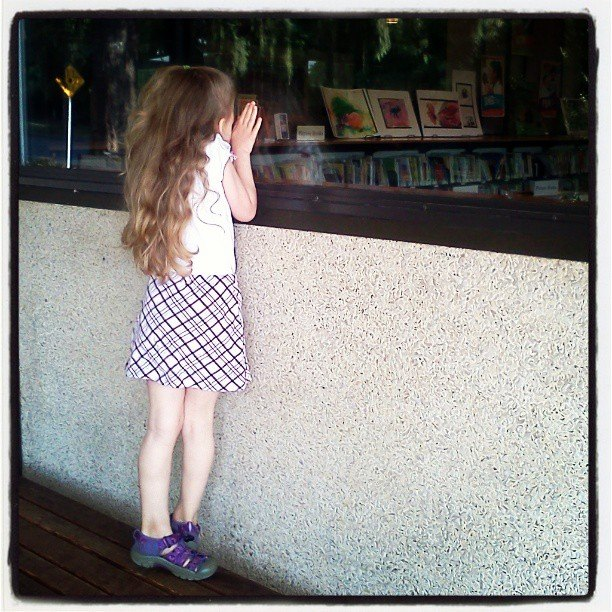 waiting for the library to open