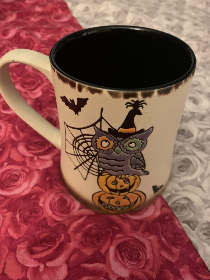 witch, halloween, coffee mug, pumpkins