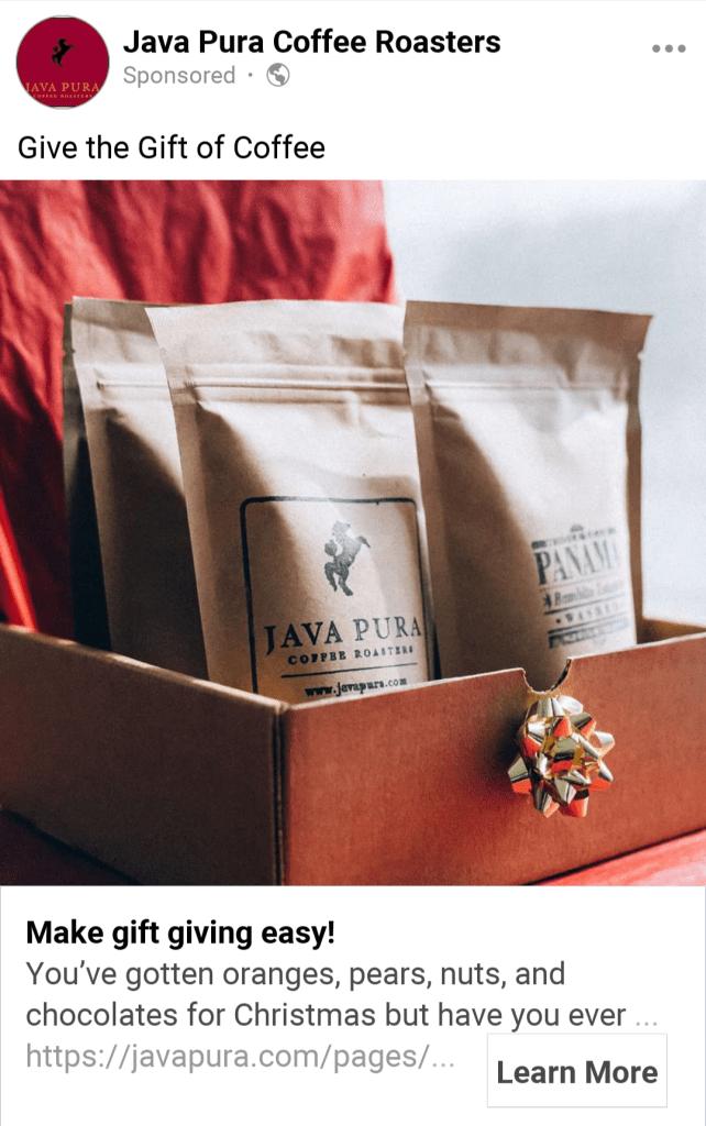 java pura coffee paid ad