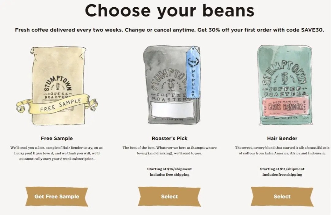 stumptown coffee subscription call to action
