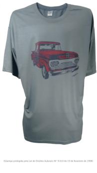 Camiseta com Estampa de Pickup Antiga - F100 Cinza