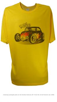 Camiseta com Estampa de Hot Rod - Fusca 2 Amarela