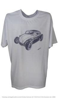 Camiseta com Estampa de Hot Rod - Fusca 1 Branca