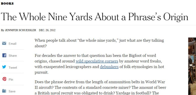 'The Whole Nine Yards' Seeking a Phrase's Origin - NYTimes.com