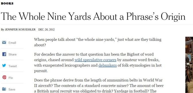 'The Whole Nine Yards' Seeking a Phrase's Origin - NYTimes.com