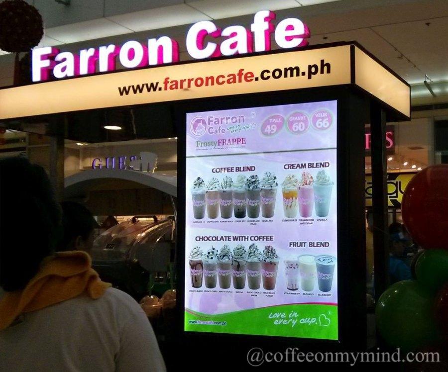 Farron Cafe kiosk prices