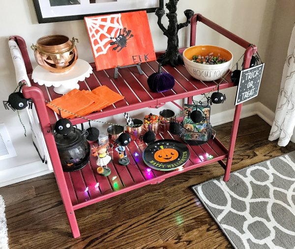 Decorating a Bar Cart for Halloween
