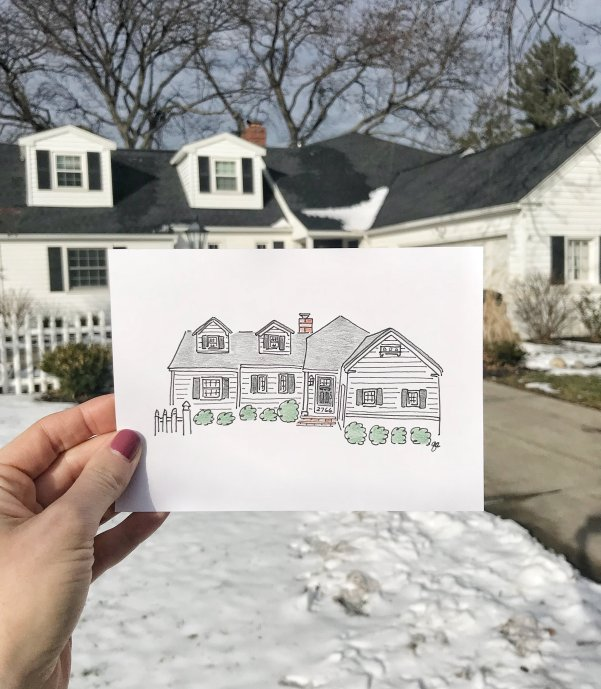 Custom drawing of your home #anniversary #mothesdaygifts