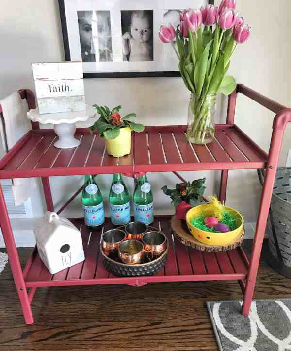 Styling a Bar Cart for Spring