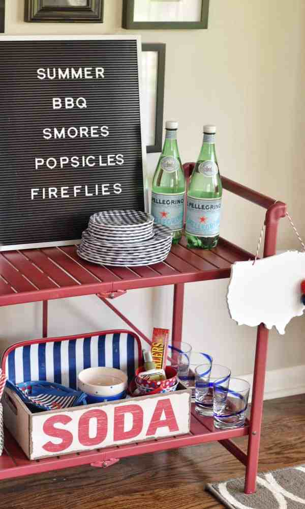 Red White and Blue Summer Bar Cart