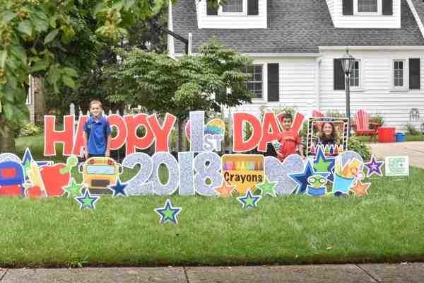 Celebrate Back to School with a Card My Yard display #1stdayofschool #ideas #celebrations