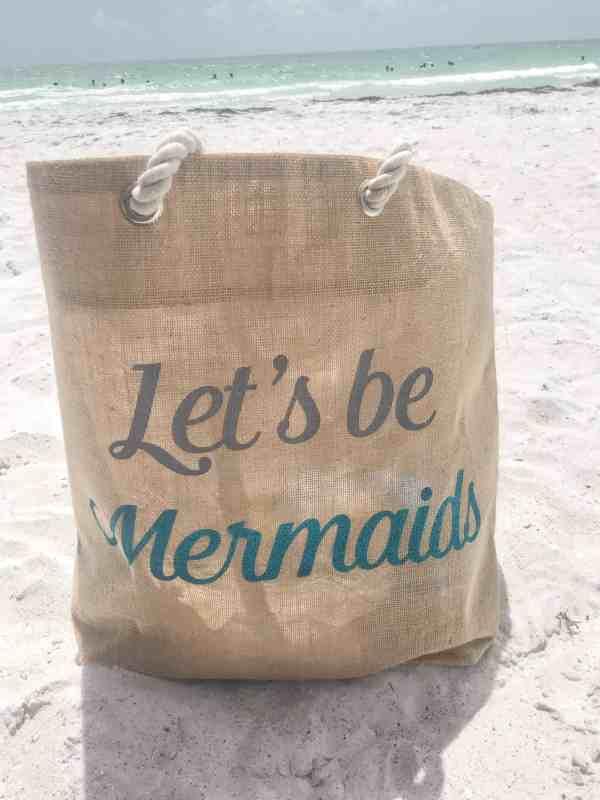 Let's Be Mermaids Straw Beach Tote