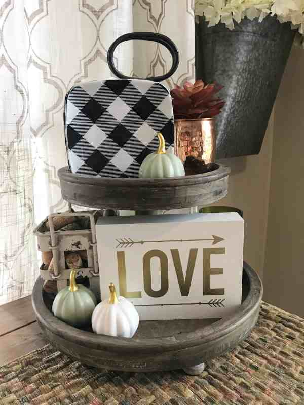Fall Tiered Tray Display #farmhousestyle #buffalocheck #pumpkins #farmhouse #traystyling