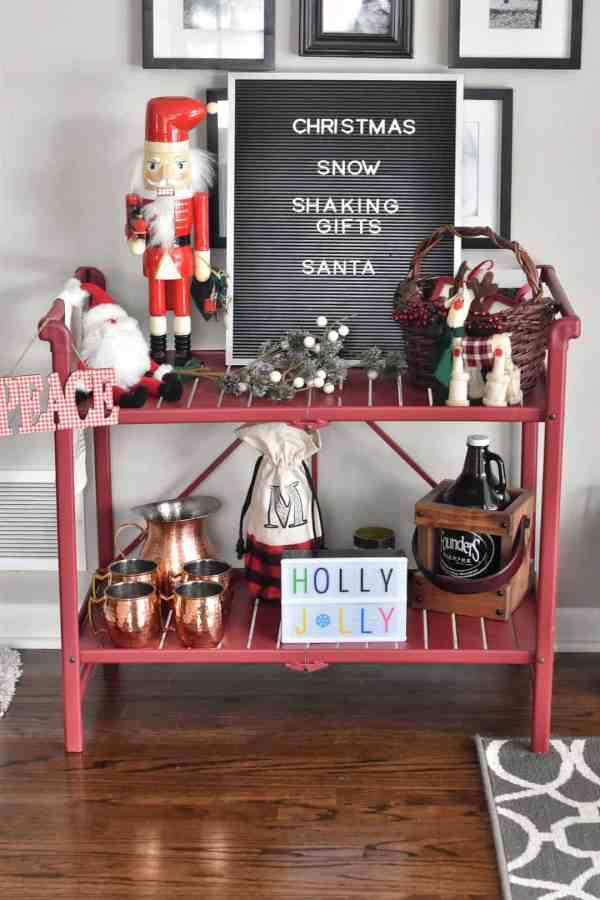 Christmas Themed Bar Cart Inspiration #barcarts #holidaydecorations #holidaybarcart #barcartideas