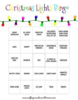 Christmas Lights Bingo Cards #christmasbingo #bingoprintable #christmaslights