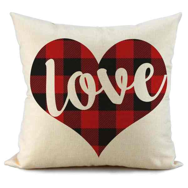 Valentine's Day Pillows #valentinesdaydecor #buffalocheck #valentinesdecor #inexpensivedecor