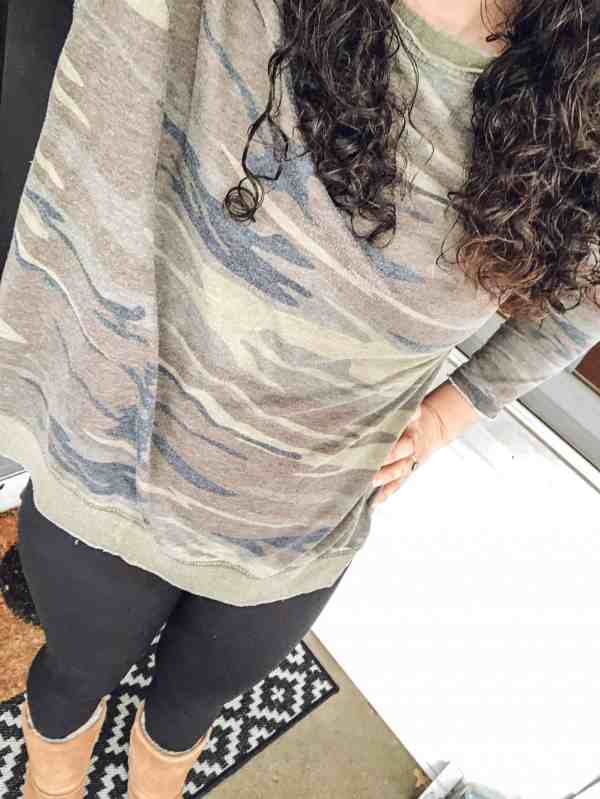 day in the mom life camo top