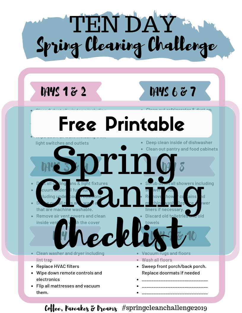 Free Printable Spring Cleaning Checklist #easy #detailed #2019