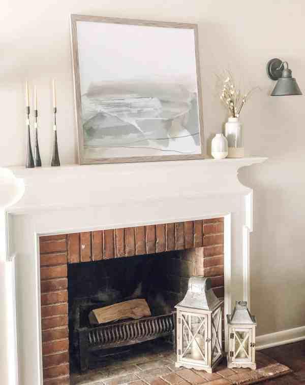 Fireplace Mantle Decor Inspiration #neutral #farmhouse #modern #gray #artwork