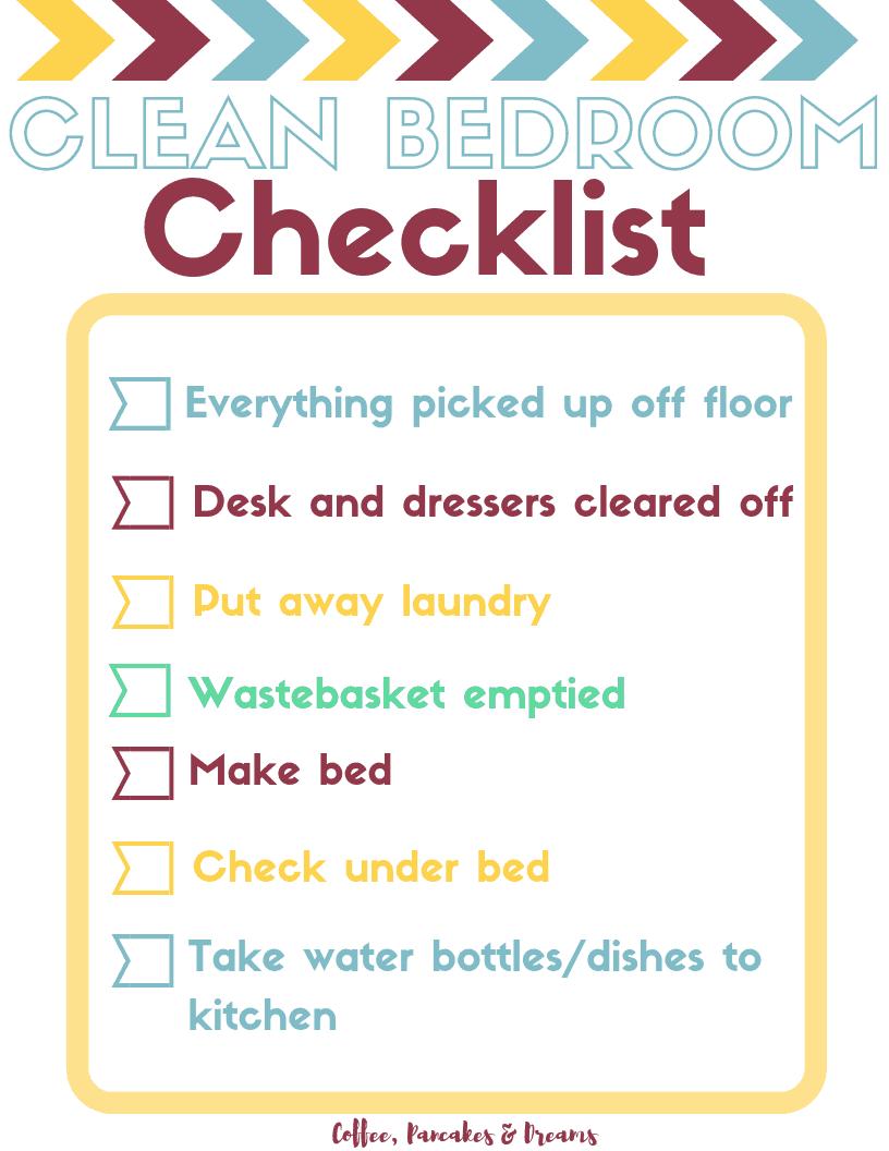Kids Clean Room Checklist #freeprintable #chorelist #kids #bigkids #chorechecklist