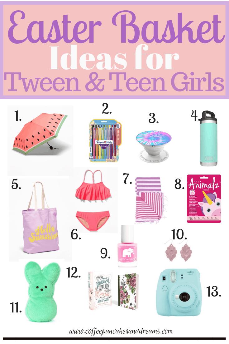Easter basket ideas for tween and teen girls #ideas #themes #easterbasket #tweens #giftideas