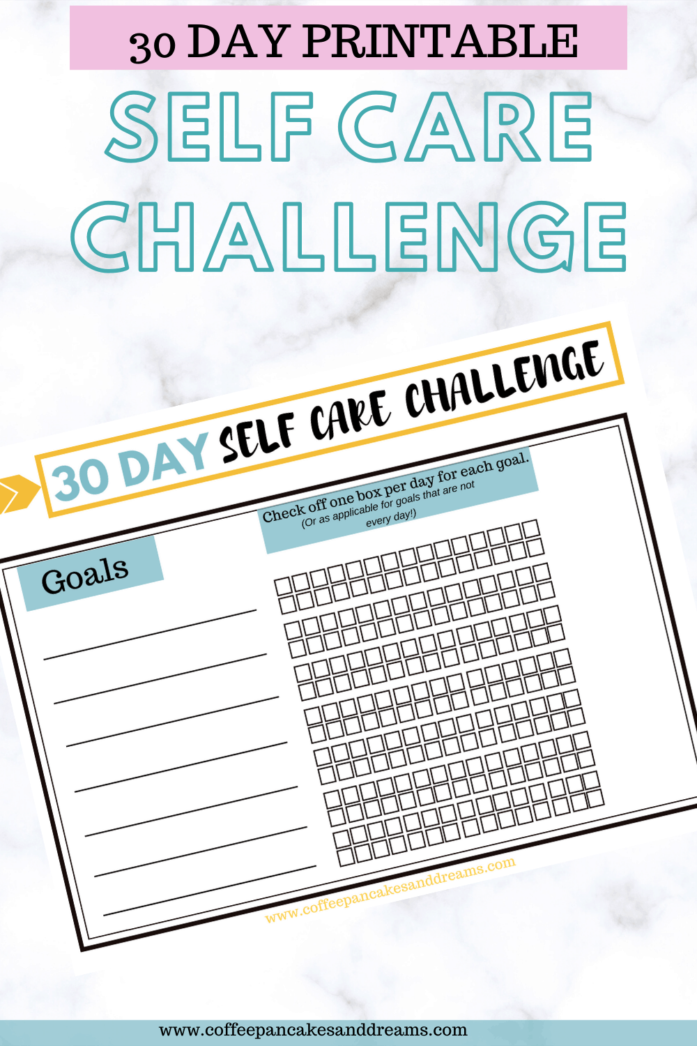 30 Day Self Care Challenge Printable Worksheet #selfcareideas #dailyselfcare #pdf