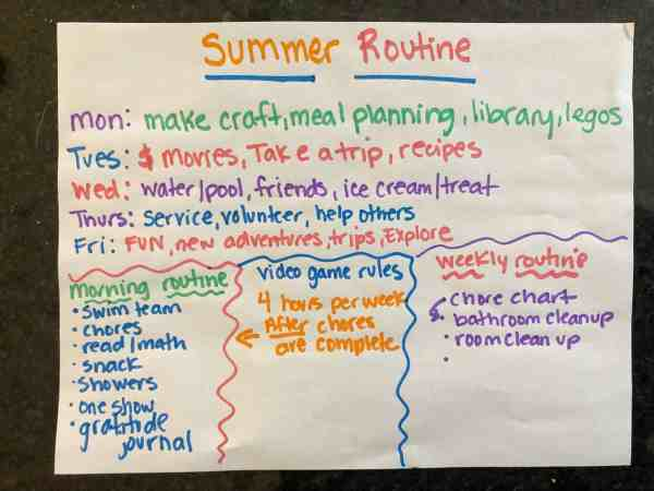 Weekly routine for summer #kids #schedule
