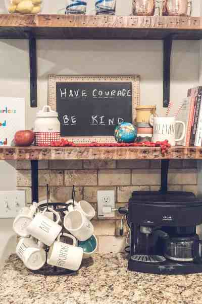 Back-to-School coffee bar inspiration #firstdayofschool #falldecorating #kitchenshelves
