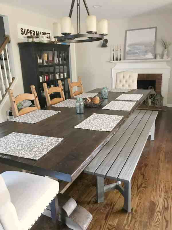 Farmhouse style dining room inspiration #bench #fixerupper #rustic